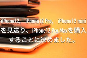 iPhone12,iPhone12 Pro,iPhone12 miniではなくiPhone12 Pro Maxを購入することに決めました。