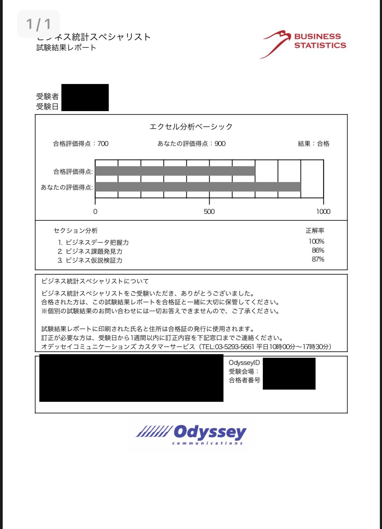 Excel分析ベーシック合格証
